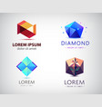set of abstract geometric 3d logos shapes vector image