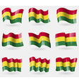 Set of Bolivia flags in the air vector image
