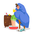 sick woman in blanket vector image