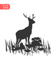 silhouette of deer on a meadow on white vector image