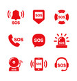 sos icon set vector image vector image