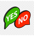 speech bubble yes no isometric icon vector image vector image