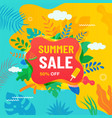 summer abstract sale banner with tropical leaves vector image vector image