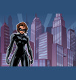 superheroine battle mode city vector image vector image