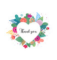 thank you card big white heart with colorful vector image vector image