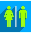 Toilet People Flat Square Icon with Long Shadow vector image