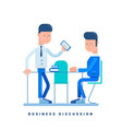two businessmen discussing business concept for vector image vector image