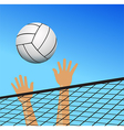 Volleyball player hands over the net with ball vector image vector image