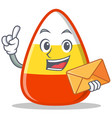 with envelope candy corn character cartoon vector image vector image