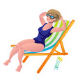 young woman sunbathing lying on the beach in a vector image vector image