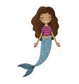 african american mermaid siren sea theme vector image