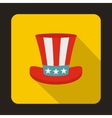 Uncle Sam hat icon flat style vector image