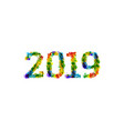 2019 year paint splashes gradient font vector image vector image