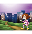 A young girl walking across the tall buildings vector image
