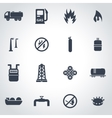 black natural gas icon set vector image