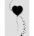 black silhouette of heart shaped helium balloon vector image