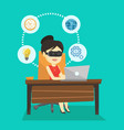 business woman in vr headset working on computer vector image vector image