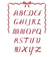 Christmas ribbon alphabet vector image vector image