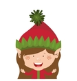 color image with half body christmas gnome girl vector image vector image