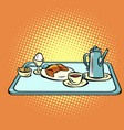 continental breakfast on a tray vector image vector image