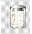 Cotton balls and cotton buds in jar
