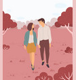 couple walking in park lovers meeting vector image vector image