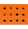 Crown icons on orange background vector image vector image