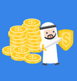 cute arab businessman carry sword and shield vector image
