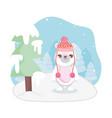 cute polar bear with hat snow tree merry christmas vector image