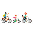 family on bicycles walk male and female riding on vector image vector image