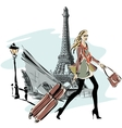 Fashion models with luggage in sketch style and vector image vector image