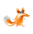 fluffy cute fox cartoon on light background vector image
