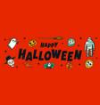 halloween horizontal banner with happy halloween vector image