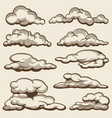 hand drawn clouds in vintage style set vector image vector image