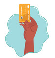 hand holds credit card icon vector image vector image