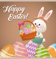 happy easter card rabbit holding basket egg vector image vector image
