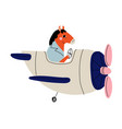 horse pilot flying on retro plane in sky cute vector image vector image