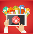 human hand smart tablet shop basket goods icon vector image vector image