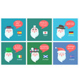 international santa clauses greet with new year vector image