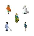 isometric human set of policewoman housemaid vector image vector image