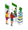 isometric set of promotional stands or exhibition vector image vector image