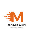 letter m and fire logo vector image vector image