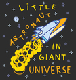 little astronaut in giant universe vector image