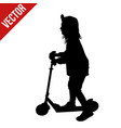 little girl silhouette riding a scooter vector image
