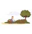 man reading at table in park vector image vector image
