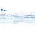 Outline Rome skyline with blue buildings vector image vector image