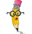 pencil nerd cartoon character vector image vector image