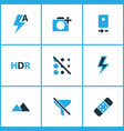 photo icons colored set with smartphone add a vector image vector image