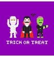 Pixel art game style cartoon halloween mummy vector image
