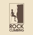 poster logo silhouette man mountain descent rock vector image